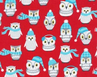 Polar Pals by Robert Kaufman - Red Owls - Cotton Woven Fabric