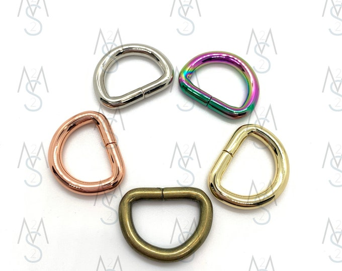 D-Rings - 3/4 Inch Wide - 10 Pieces - Dee Rings - Bag Hardware - 2 Minutes 2 Stitch - Rainbow D Rings - Rose Gold Hardware