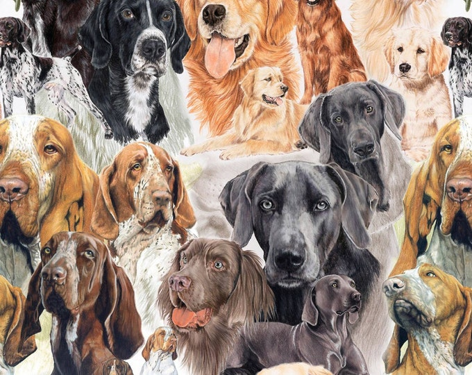 Animal Reign Digital Prints by David Textiles - Hound Dogs - Cotton Woven Fabric