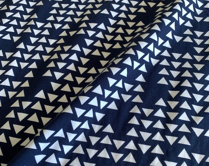 Feathers, Arrows and Triangles by Riley Blake - Triangles Navy - Cotton/Spandex Knit