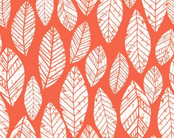 Summer Skies by 3 Wishes - Coral Leaves - Cotton Woven Fabric