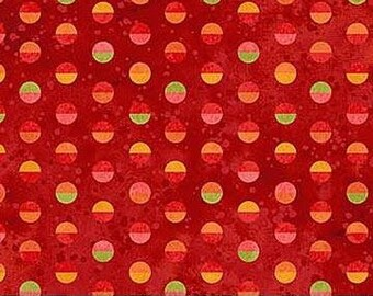 Full Bloom by Northcott Fabrics - Dots on Red - Cotton Woven Fabric