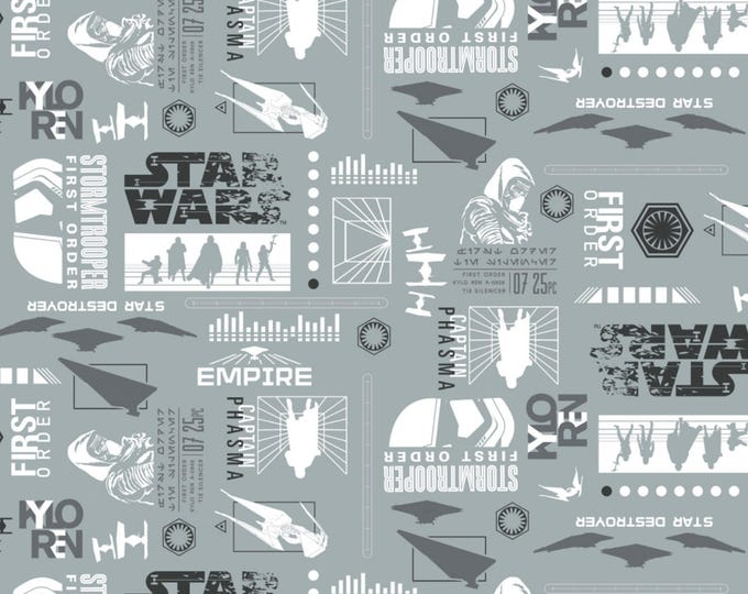 Star Wars The Last Jedi by Camelot - Empire Silhouettes Lead - Cotton Woven Fabric