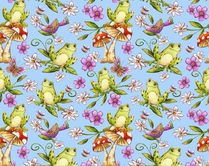 Garden Glory by Blank Quilting - Frogs Lt Blue  - Cotton Woven Fabric