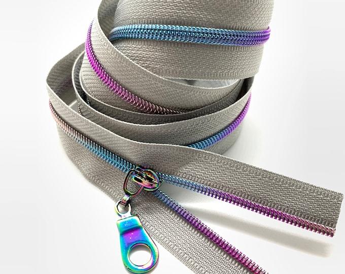 Rainbow Nylon Coil Zipper (#3 Size) with Grey Tape & Rainbow Pulls - Zipper by the Yard - Nylon Coil Zipper - Metallic Zipper