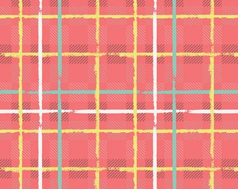 Mad Plaid by Art Gallery - Electric Watermelon Plaid - Cotton/Spandex Knit