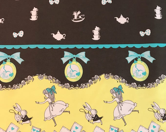 Shinzi Katoh Japan - Alice in Wonderland Aqua & Yellow Double Border - Cotton Oxford