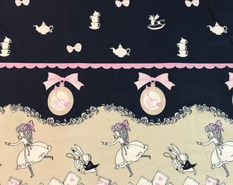 Shinzi Katoh Japan - Alice in Wonderland Navy Double Border - Cotton Oxford