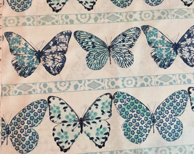 Butterfly Row by Michael Miller - Butterfly Row Marine - Cotton Woven Fabric