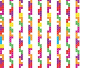 Tetris Licensed by Riley Blake - White Tetris Stripe - Cotton Woven Fabric
