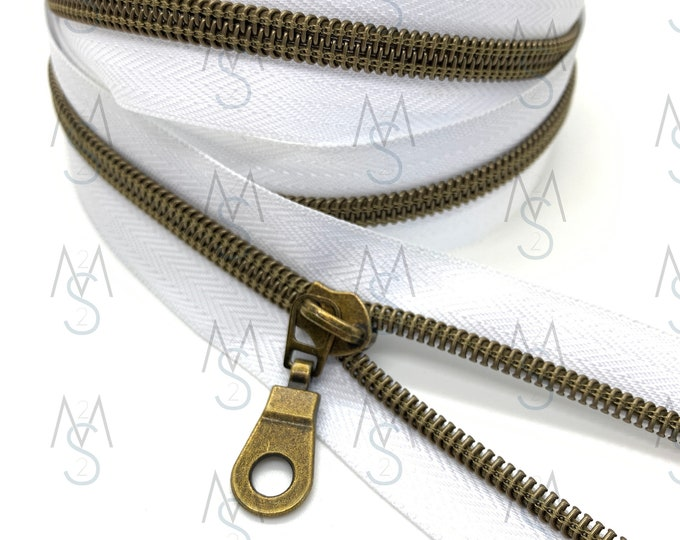 Antique Brass Nylon Coil Zipper (#5 Size) with WhiteTape & Antique Brass Pulls - Zipper by the Yard - Nylon Coil Zipper - Metallic Zipper
