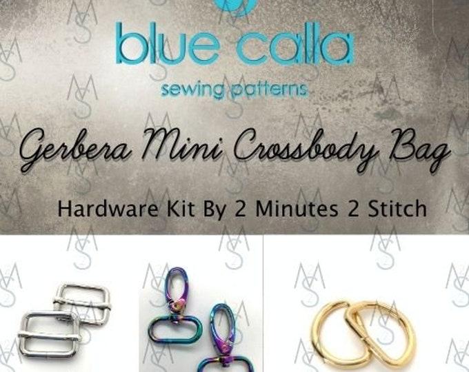 Gerbera Mini Crossbody Bag - Blue Calla Hardware Kit - Swivel Clips, D-Rings