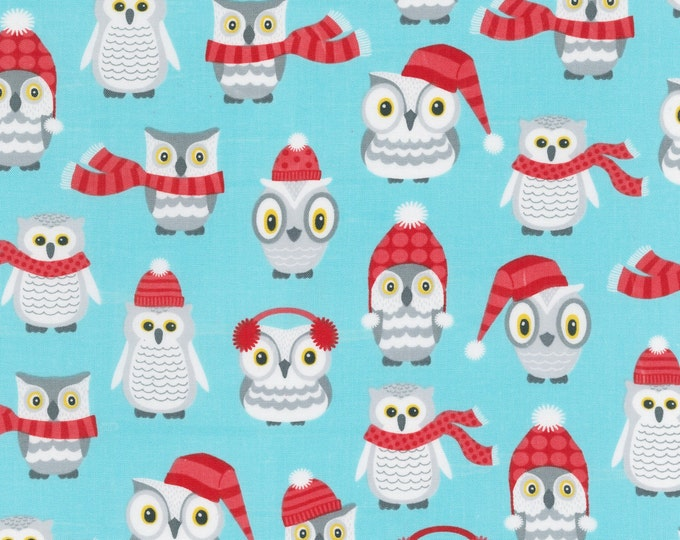 Polar Pals by Robert Kaufman - Aqua Owls - Cotton Woven Fabric