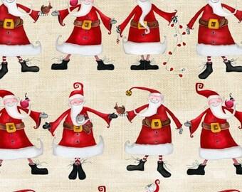 Around Town Christmas by Studio E - Santa on Cream - Cotton Woven Fabric - FAT QUARTER