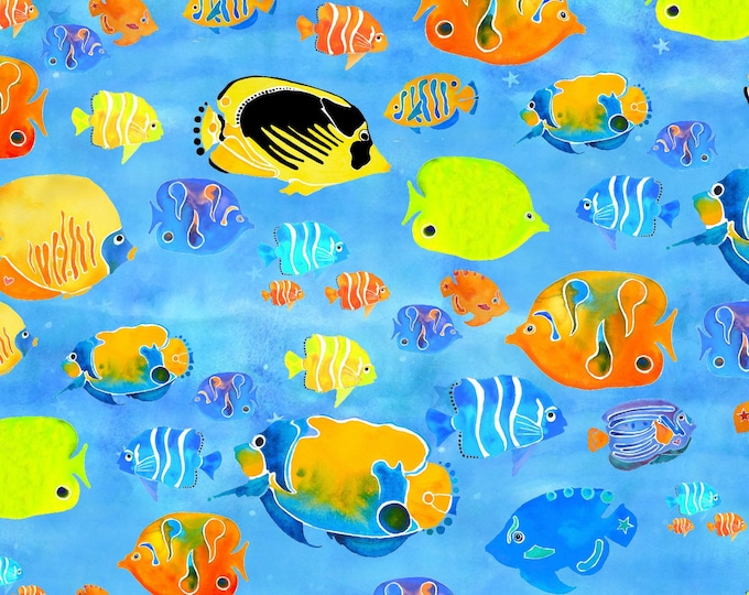 Under the Sea by 3 Wishes - Tropical Fish - Cotton Woven Fabric - Digitally Printed