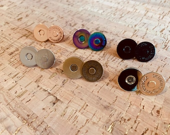 18mm Magnetic Snaps/Closures for Handbags & Wallets - 10 Sets! - Bag Hardware - Rainbow Magnetic Snaps - Rose Gold Magnetic Snaps