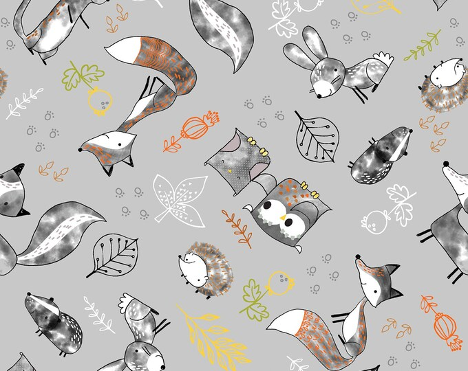 Just Friends by Fabric Editions - Grey Tossed Animals - Cotton Woven Fabric - FAT QUARTER
