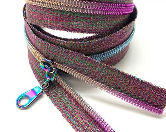 Rainbow Nylon Coil Zipper (#5 Size) with Metallic Tape & Rainbow Pulls - Zipper by the Yard - Nylon Coil Zipper - Metallic Zipper
