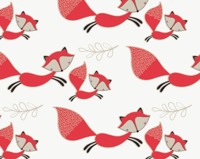 Camelot - Mama & Me - Foxes in White - Cotton Woven Fabric - FAT QUARTER