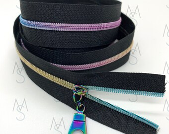 Rainbow Nylon Coil Zipper (#3 Size) with Black Tape & Rainbow Pulls - Zipper by the Yard - Nylon Coil Zipper - Metallic Zipper