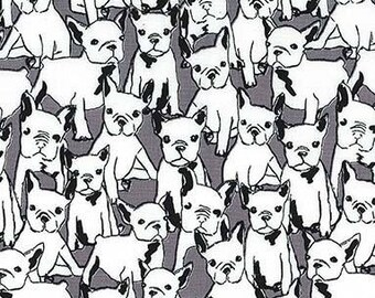 Cats & Dogs by Michael Miller - Lil' Doggie Gray - Cotton Woven Fabric