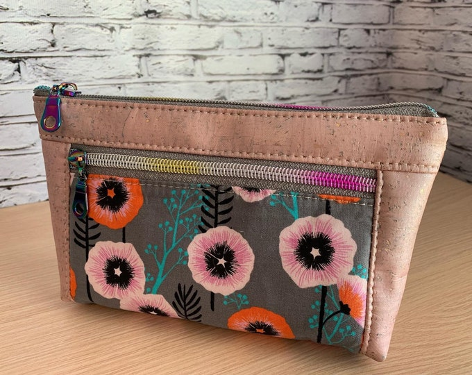 Devon Zipper Pouch - Pink Floral Cork Vegan Leather