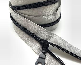 Black Nylon Coil Zipper (#5 Size) with Grey Tape & Black Metal Pulls - Zipper by the Yard - Nylon Coil Zipper - Metallic Zipper