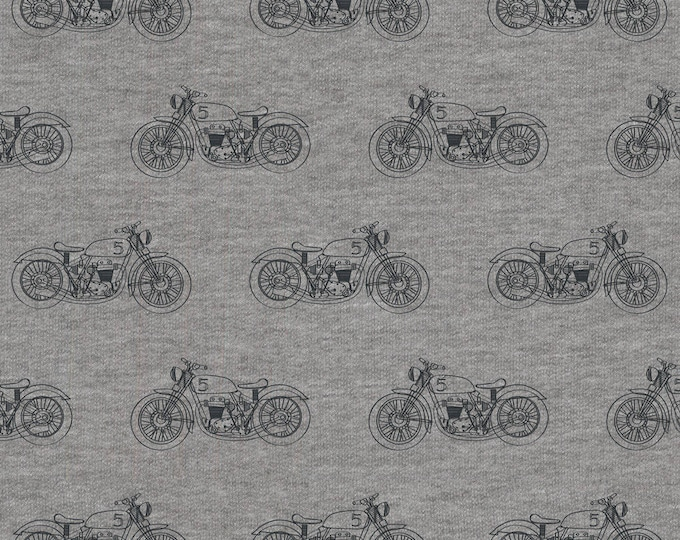 Avalana Knits by Stof Fabrics of Denmark - Dirt Bikes - Cotton Poly Sweatshirt Knit