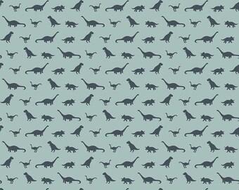 Fossil Rim Knits by Riley Blake - Tiny Dino Blue - Cotton/Spandex Knit