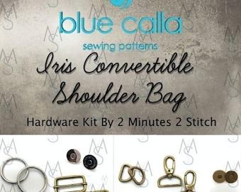 Iris Convertible Shoulder Bag - Blue Calla Hardware Kit - Swivel Clips, D-Rings