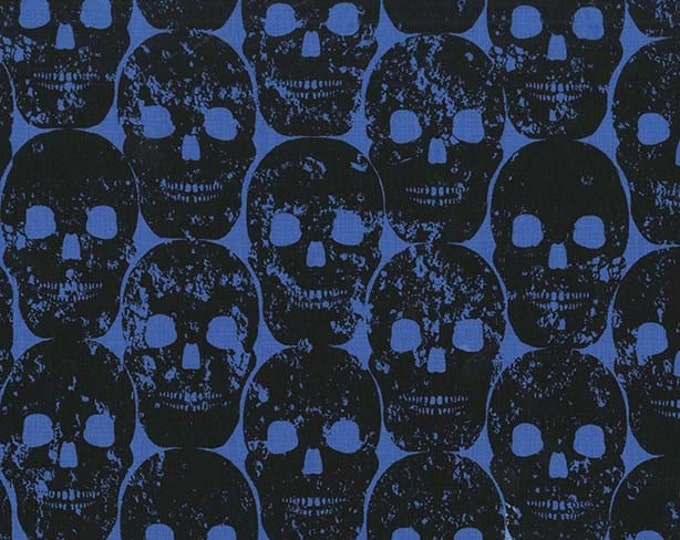 Skulls Out by Michael Miller - Numb Skull Blue - Cotton Woven - FINAL CLEARANCE