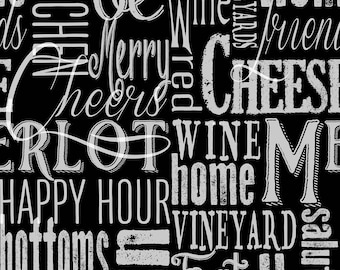Vintage by Henry Glass - Vintage Words on Black - Cotton Woven Fabric