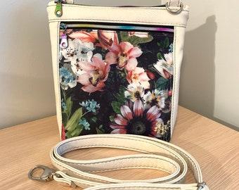 Crossbody Bag - Modern Floral Bag - Vegan Leather Purse - Ladies Purse - Fashion Bag - Rainbow Bag
