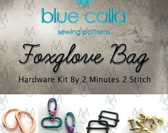 Foxglove Bag - Blue Calla Hardware Kit - Swivel Clips, D-Rings