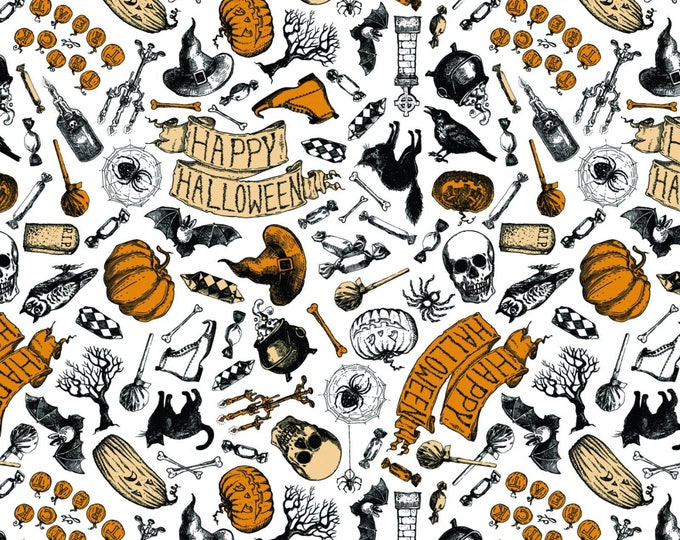 Happy Halloween by Patrick Lose - Happy Halloween White - Cotton Woven Fabric