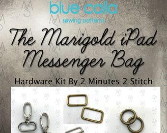 Marigold iPad Messenger Bag - Blue Calla Hardware Kit - Marigold Hardware Kit - 2 Minutes 2 Stitch