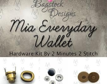 Mia Everyday Wallet Hardware Kit - Bagstock Designs - Wallet Hardware - 2 Minutes 2 Stitch