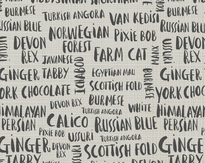 Hotdogs & Cool Cats by Windham - Cat Names - Organic Cotton Woven Fabric