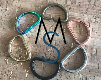 D-Rings - 1-Inch Wide - 4 Pieces - Dee Rings - Bag Hardware - 2 Minutes 2 Stitch - Rainbow D Rings - Rose Gold Hardware