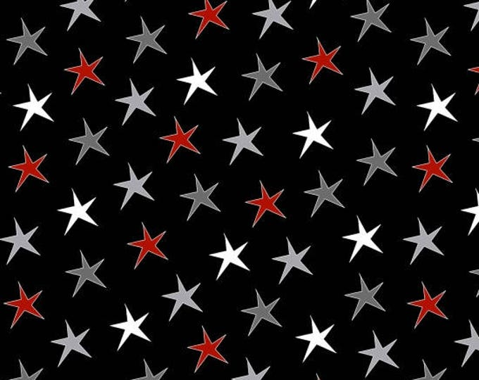 Around Town Christmas by Studio E - Stars Black - Cotton Woven Fabric