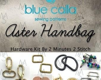 Aster Handbag Hardware Kit- Blue Calla Patterns - 2 Minutes 2 Stitch - Bag Hardware Kit