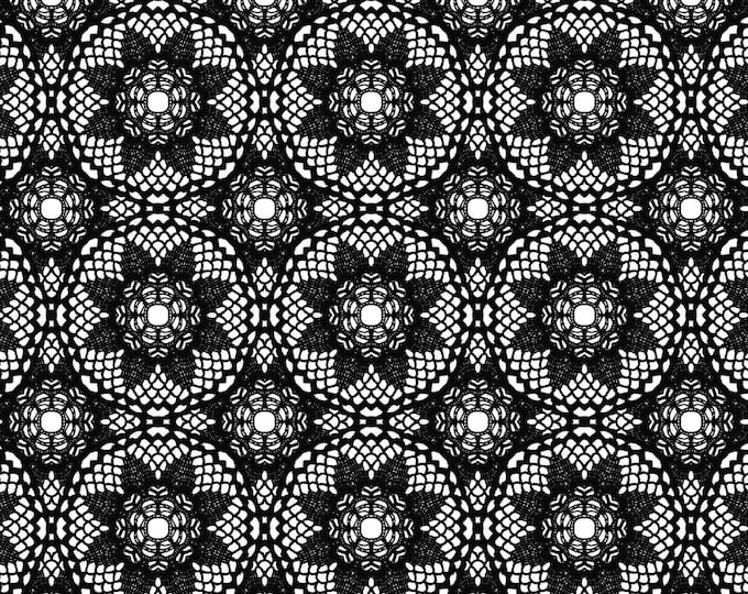 Happy Halloween by Patrick Lose - Creepy Crochet Black - Cotton Woven Fabric