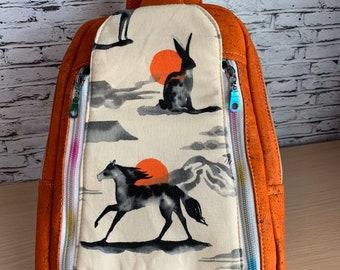 Speedwell Sling Bag - Sling Backpack - Mustang Bag - Vegan Leather Bag - Cork Backpack - Orange Backpack - Turquoise Backpack - Mustang Bag
