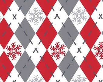 Woodland Winter by Michael Miller - Argyle Sweater Santa - Cotton Woven Fabric
