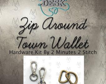 Zip Around Town Wallet - Dog Under My Desk - Hardware Kit