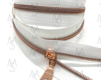 Rose Gold Nylon Coil Zipper (#5 Size) with White Tape & Rose Gold Pulls - Zipper by the Yard - Nylon Coil Zipper - Metallic Zipper