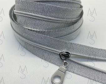 Silver Nickel Nylon Coil Zipper (#3 Size) with Metallic Silver Tape & Nickel Pulls - Zipper by the Yard - Nylon Coil Zipper