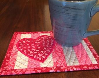 Easy Valentines Mug Rug SEWING Pattern