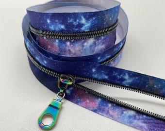Star Rainbow Nylon Coil Zipper (#3 Size) with Galaxy Tape & Rainbow Pulls - Zipper by the Yard - Nylon Coil Zipper - Metallic Zipper