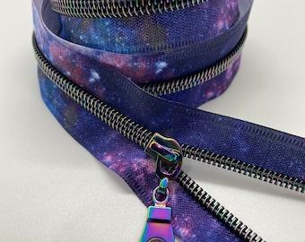 Star Rainbow Nylon Coil Zipper (#5 Size) with Galaxy Tape & Rainbow Pulls - Zipper by the Yard - Nylon Coil Zipper - Metallic Zipper